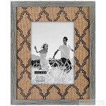 Grey Lattice Burlap Frame Available in 2 Sizes