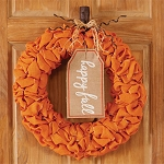 Happy Fall Orange Burlap Wreath