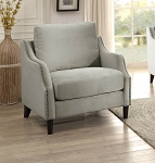 Sophia Graphite Grey Accent Chair w/ Nailheads
