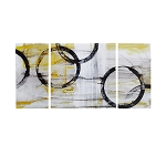 Canary Lunar Abstract 3 Piece Canvas Wall Art