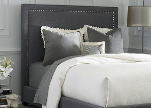 Grey Linen Panel Upholstered Bed