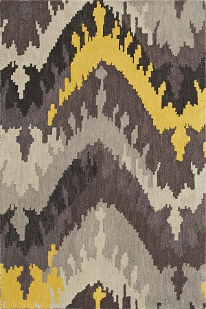 Impulse Grey Ikat Art Silk & Hand-tufted Wool pile Rug